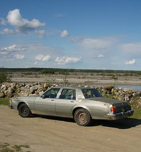 oldsmobile by tanana river near Fairbanks